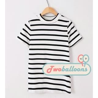 JVL - Short-Sleeve Mock-Neck Striped T-Shirt