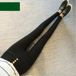 YAYAGREEN - 钮扣高腰窄身长裤