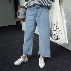 OCTALE - Washed Frayed Hem Cropped Wide Leg Jeans