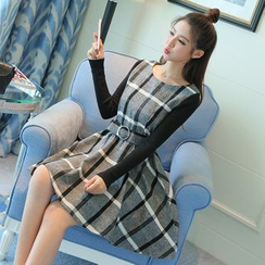 Emeline - Check Long-Sleeve A-Line Dress