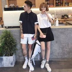 Soulcity - Couple Matching Panel Short-Sleeve Polo Shirt