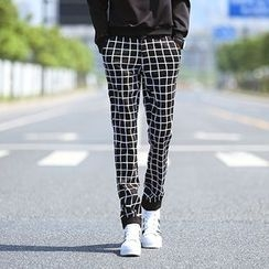 Breeson - Check Straight-Cut Pants