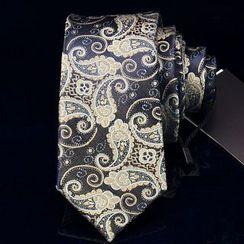 RIVIRO - Printed Necktie / Set: Bow Tie + Pocket Square + Boutonnière / Necktie + Bow Tie + Pocket Square + Cuff Links + Tie Clip