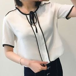Glen Glam - Bow Short-Sleeve Chiffon Blouse