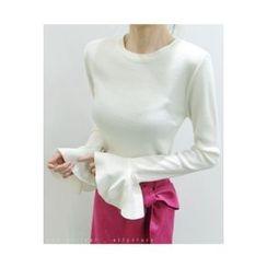 ATTYSTORY - Flared-Cuff Slim-Fit Knit Top
