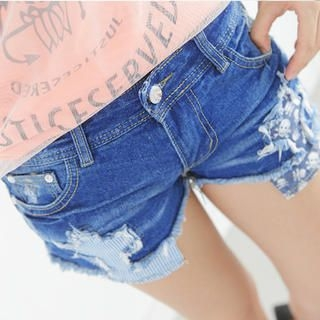 rico - Washed Distressed Panel Denim Shorts