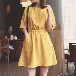 Cloud Nine - Plain Short-Sleeve A-Line Dress