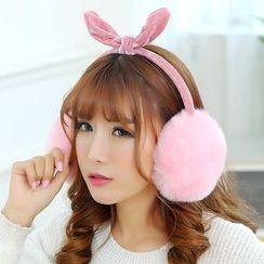 Reyna - Bow Faux Fur Ear Warmers