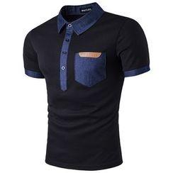 Hansel - Denim Trim Short-Sleeve Polo Shirt