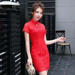 静世奇缘 - 中式领短袖蕾丝礼服裙