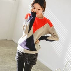JUSTONE - Color-Block Wool Blend Knit Top