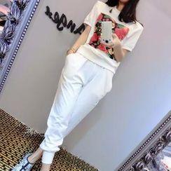 Munai - Set: Short-Sleeve Printed Top + Pants