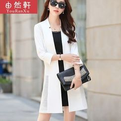 Billow Sky - Set: 3/4-Sleeve Long Blazer + Sleeveless Dress