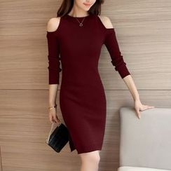Shiga - Cold Shoulder Knit Bodycon Dress