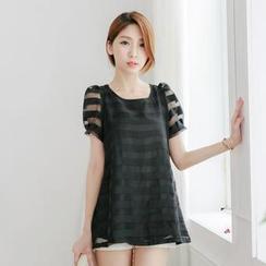 Tokyo Fashion - Puff Short-Sleeve Sheer Striped Top