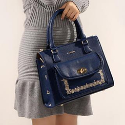 Axixi - Embroidered Pocket-Front Satchel