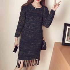 lilygirl - Fringed Long Sleeve Knit Dress