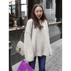 maybe-baby - Ribbed Loose-Fit Knit Top