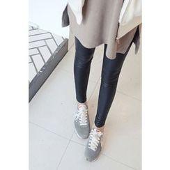 CHERRYKOKO - Faux-Leather Brushed-Fleece Lined Leggings