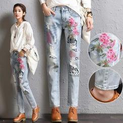 伊之恋 - 刺绣窄身牛仔裤