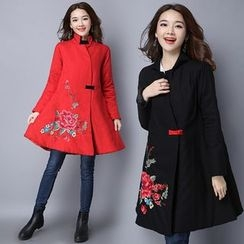 Diosa - Floral Embroidered Long Padded Coat