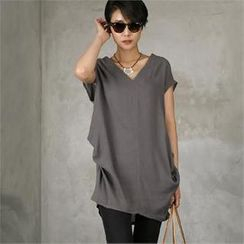 HALUMAYBE - V-Neck Shirred-Detail Long Top