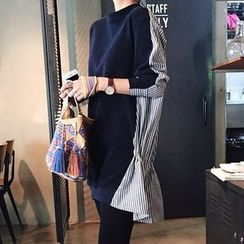 Viana Smile - Maternity Mock Two-piece Stripe Panel Pullover Dress