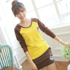 Chuvivi - Set: Color-Block Appliqué T-Shirt + Miniskirt