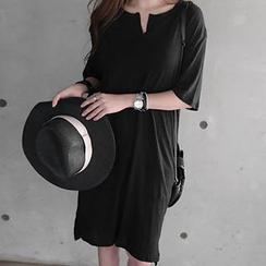 NANING9 - Slit-Neck Linen Blend T-Shirt Dress