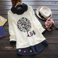 YOYO - Inset Dotted Blouse Tree Lace Top