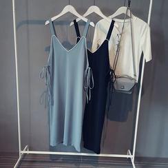 芷蓯夕 - 配色邊雪紡背帶連衣裙