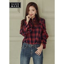 Chlo.D.Manon - Tie-Neck Frilled Tartan-Plaid Top