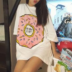 Sheeno - Printed Elbow-Sleeve T-Shirt Dress