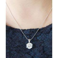 Miss21 Korea - Rhinestone-Pendant Ball-Chain Necklace