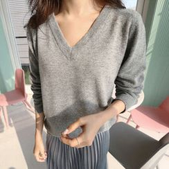 Hello sweety - V-Neck Wool Blend Knit Top