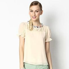 O.SA - Short-Sleeve Shirred Chiffon Blouse