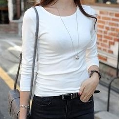 CHICFOX - Long-Sleeve Slim-Fit T-Shirt