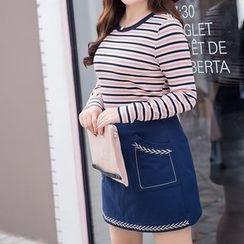 CAIDOBLE - Long-Sleeve Striped T-Shirt