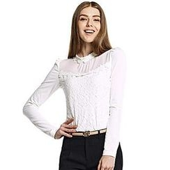 O.SA - Long-Sleeve Notched-Neck Lace-Panel Top