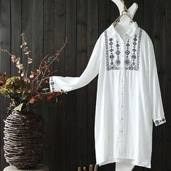 Rosadame - Embroidered Long Shirt