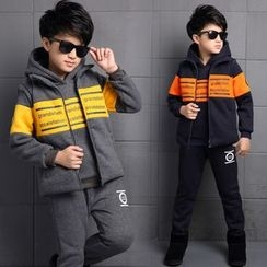 Pegasus - Kids Set: Lettering Color Panel Hoodie + Vest + Sweatpants