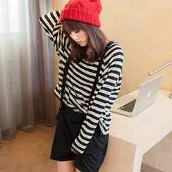 Tokyo Fashion - Inset Stripe Knit Top Suspender Skirt