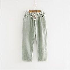 舒然衣社 - 條紋抽繩長褲