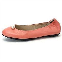 MODELSIS - Faux-Pearl Trim Flat-Shoes