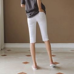 JUSTONE - Band-Waist Distressed Cropped Skinny Pants