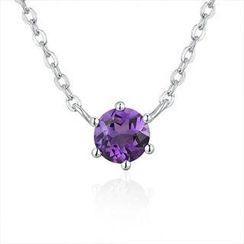 MaBelle - 925純銀紫色半寶石項鍊 16吋