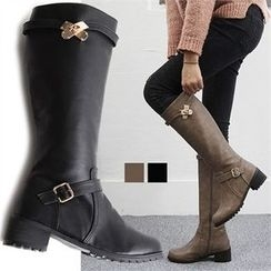 Reneve - Block-Heel Belted Tall Boots
