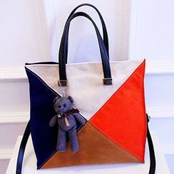 Youme - Color Block Tote with Bear Charm