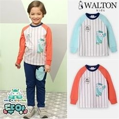 WALTON kids - Kids Contrast-Sleeve Striped Print Sweatshirt