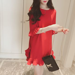 Oaksa - Frill Trim Chiffon Dress